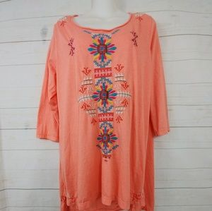 Johnny Was Tops - JW Los Angeles Embroidered Tunic Johnny Was  Sz 1x